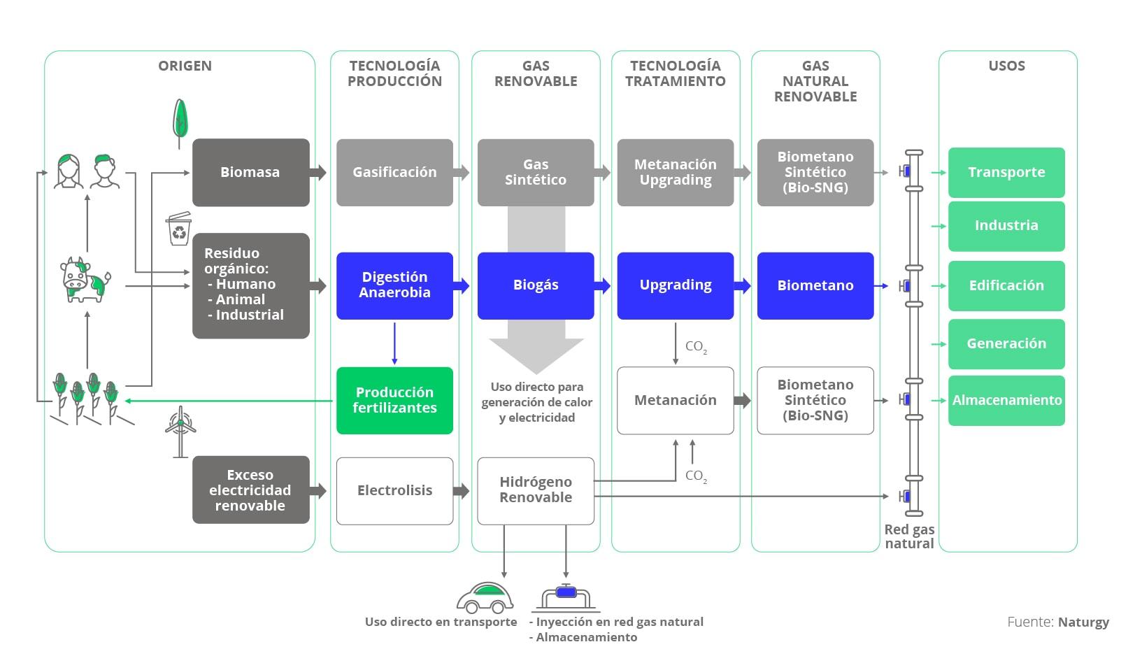 El ciclo del gas renovable